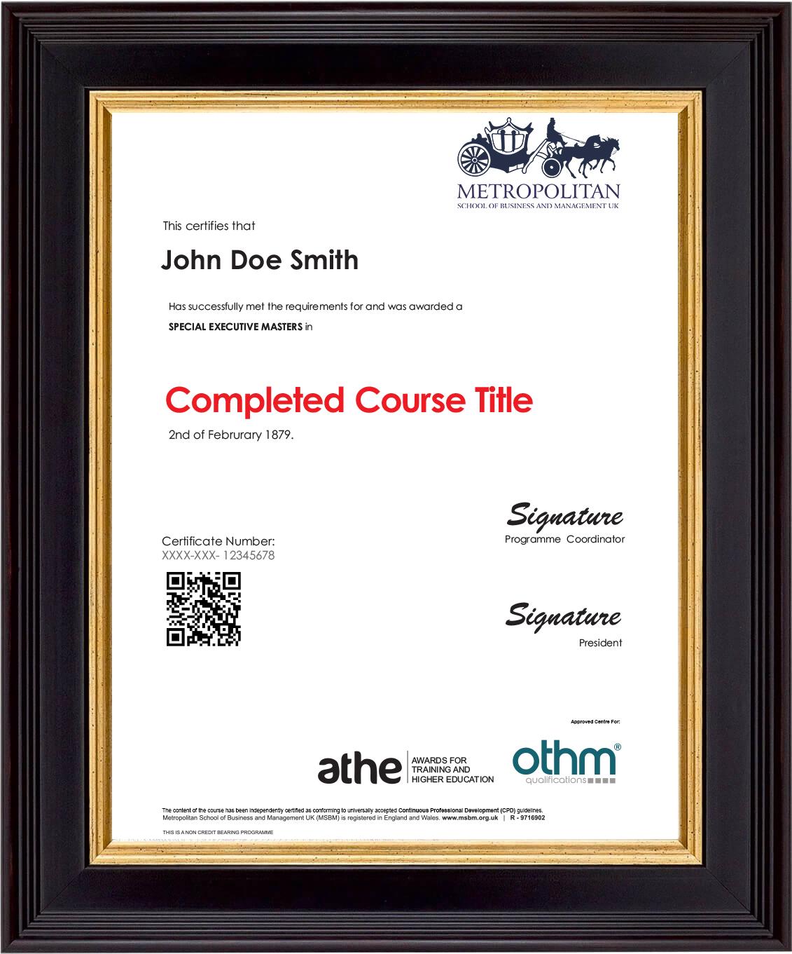 SEMP Dubai Sample Certificate